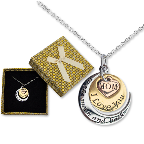 Mom I Love You To The Moon Necklace Image